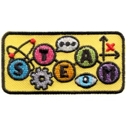 Steam, Energy, Power, Mechanical, Punk, Patch, Embroidered Patch, Merit Badge, Badge, Emblem, Iron On, Iron-On, Crest, Lapel Pin, Insignia, Girl Scouts, Boy Scouts, Girl Guides