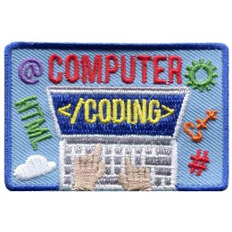A laptop is open and showing a blue screen with the text '</coding>' displayed as hands type on the keyboard below. Above the laptop screen is embroidered the word 'Computer' to make 'Computer Coding' the main theme of this crest. Coding symbols float around the laptop.