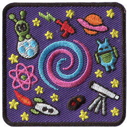 This square patch is filled with little images. An alien on a flying saucer is in the top left, a ray gun is at the top middle, Saturn is depicted in the top right, a little android-like alien is at the middle right, a telescope sits at the bottom right, a space shuttle at the bottom left, and a galaxy is in the middle right. A blue and pink swirl sits in the middle of the patch.