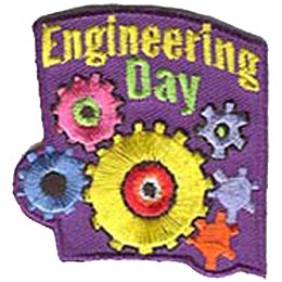 This patch is full of different coloured gears. The words ''Engineering Day'' is written at the top of the crest.