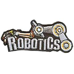 A mechanical robot arm is draped over the word Robotics so that the hand is resting on the R of the word.
