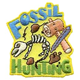Fossil, Hunt, Dinosaur, Bone, Skeleton, Mallet, Patch, Embroidered Patch, Merit Badge, Iron On, Iron-On, Crest, Girl Scouts, Boy Scouts, Girl Guides