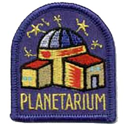This purple crest displays a three room planetarium sitting under glittering stars.