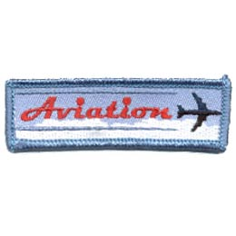 This thin, rectangular patch depicts an airplane zooming above the clouds and zipping by the word ''Aviation.''
