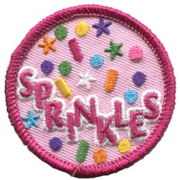 Spark, Sprinkles, Star, Circle, Candy, Decoration, Patrol, Patch, Embroidered Patch, Merit Badge, Badge, Emblem, Iron On, Iron-On, Crest, Lapel Pin, Insignia, Girl Scouts, Boy Scouts, Girl Guides