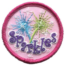 Spark, Sparkles, Shine, Glitter, Blue, Green, Circle, Patrol, Patch, Embroidered Patch, Merit Badge, Badge, Emblem, Iron On, Iron-On, Crest, Lapel Pin, Insignia, Girl Scouts, Boy Scouts, Girl Guides