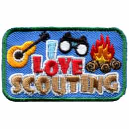 Love, Scouting, Camp, Fire, Binoculars, Guitar, Patch, Embroidered Patch, Merit Badge, Badge, Emblem, Iron On, Iron-On, Crest, Lapel Pin, Insignia, Girl Scouts, Boy Scouts, Girl Guides