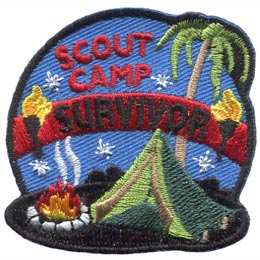 A tent is pitched next to a campfire with smoke rising up into a blue night sky dotted with silver stars. The words ''Scout Camp Survivor'' are embroidered in the sky with ''Survivor'' written on a banner between two torches. A palm tree rests in the background.
