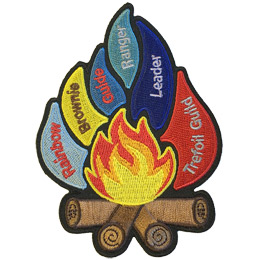 This 1 piece patch creates the image of a roaring campfire with multi-coloured flames shooting off. From left to right the flames represent: Rainbow, Brownie, Guide, Ranger, Leader, and Trefoil Guild.