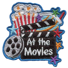 This patch is comprised of a tub of popcorn in the top left, a soda cup in the top right, a movie reel in the bottom left, and a clapperboard bottom center-right. Stars line the right hand side of the crest.