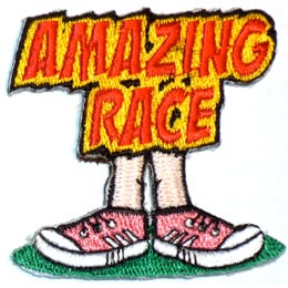 Amazing, Race, Amaze, Feet, Sneaker, Shoe, Foot, Jog, Run, Walk, Patch, Embroidered Patch, Merit Badge, Iron On, Iron-On, Crest, Girl Scouts, Boy Scou