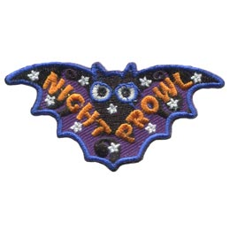 Night, Prowl, Bat, Glow, Dark, Stars,  Embroidered Patch, Merit Badge, Badge, Emblem, Iron On, Iron-On, Crest, Lapel Pin, Insignia, Girl Scouts, Boy Scouts, Girl Guides