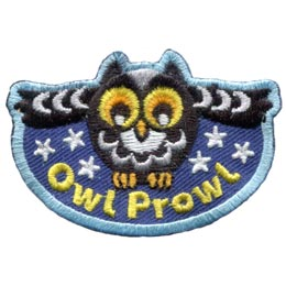 Owl, Prowl, Night, Dark, Stars,  Embroidered Patch, Merit Badge, Badge, Emblem, Iron On, Iron-On, Crest, Lapel Pin, Insignia, Girl Scouts, Boy Scouts, Girl Guides