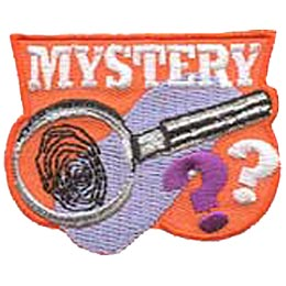 Mystery, Fingerprint, Question, Sherlock, Holmes, Magnify, Magnifying Glass, CSI, Patch, Embroidered Patch, Merit Badge, Iron On, Iron-On, Crest, Girl