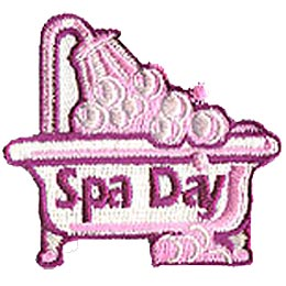 Spa Day, Salon, Bath, Facial, Pedicure, Manicure, Beauty, Bubble, Patch, Crest, Merit Badge, Girl Scouts, Girl Guides