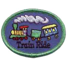 Train Ride, Railway, Tracks, Steam, Engine, Caboose, Patch, Embroidered Patch, Merit Badge, Crest, Girl Scouts, Boy Scouts, Girl Guides