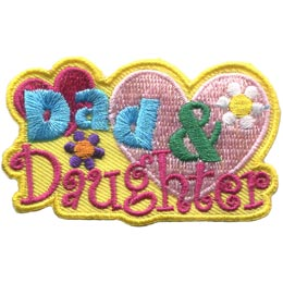 Dad, Daughter, Father, Child, Girl, Heart, Love, Flower, Embroidered Patch, Merit Badge, Badge, Emblem, Iron On, Iron-On, Crest, Lapel Pin, Insignia, Girl Scouts, Boy Scouts, Girl Guides