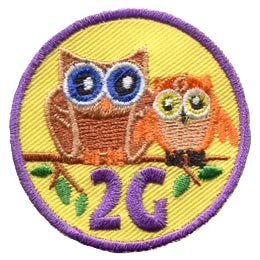 Owls, Second, 2nd, Generation, Branch, Leaf, Mother, Grandmother, Daughter, Patch, Embroidered Patch, Merit Badge, Badge, Emblem, Iron On, Iron-On, Crest, Lapel Pin, Insignia, Girl Scouts, Boy Scouts, Girl Guides