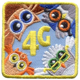 Owls, Forth, 4th, Generation, Branch, Leaf, Mother, Grandmother, Daughter, Patch, Embroidered Patch, Merit Badge, Badge, Emblem, Iron On, Iron-On, Crest, Lapel Pin, Insignia, Girl Scouts, Boy Scouts,