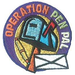 Operation Pen Pal, Pen Pal, Letter, Post Office, Stamp, Mail, Patch, Embroidered Patch, Merit Badge, Crest, Girl Scouts, Boy Scouts, Girl Guides