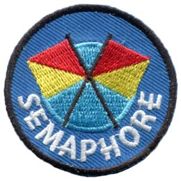 Semaphore, Flag, Signal, Telegraph, Boat, Ship, Vessel, Patch, Embroidered Patch, Merit Badge, Badge, Emblem, Iron On, Iron-On, Crest, Lapel Pin, Insignia, Girl Scouts, Boy Scouts, Girl Guides
