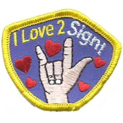 Sign, ASL, Sign Language, Language, Deaf, Handicap, Patch, Embroidered Patch, Merit Badge, Badge, Emblem, Iron On, Iron-On, Crest, Lapel Pin, Insignia, Girl Scouts, Boy Scouts, Girl Guides