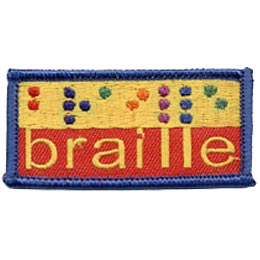 Braille, Blind, Handicap, Patch, Embroidered Patch, Merit Badge, Crest, Girl Scouts, Boy Scouts, Girl Guides
