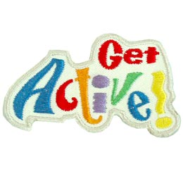 The words Get Active! make up this patch. Get is embroidered in red and is to the top right of the word Active. Active is written in different coloured threads and with playful, tilted, and squiggly writing.