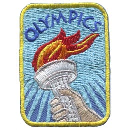 Olympics, Torch, Fire, Sports, Rings, International, Patch, Embroidered Patch, Merit Badge, Badge, Emblem, Iron On, Iron-On, Crest, Lapel Pin, Insignia, Girl Scouts, Boy Scouts, Girl Guides