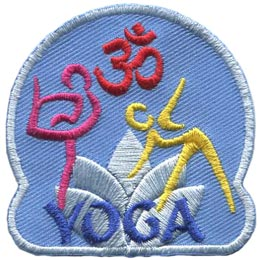 Yoga, Healthy, Stretch, Fitness, Lotus, Flower, Pose, Patch, Embroidered Patch, Merit Badge, Badge, Emblem, Iron-On, Iron On, Crest, Lapel Pin, Insignia, Girl Scouts, Boy Scouts, Girl Guides