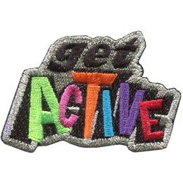 This metallic bordered crest has the word 'Get' stacked on top of 'Active'.