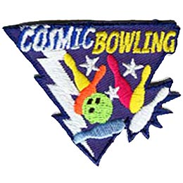 Cosmic Bowling, Pins, Ball, Bowl, Lightning, Stars, Patch, Embroidered Patch, Merit Badge, Crest, Girl Scouts, Boy Scouts, Girl Guides