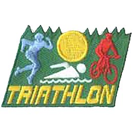 Triathlon, Running, Marathon, Jog, Swim, Bicycle, Cycle, Patch, Embroidered Patch, Merit Badge, Crest, Girl Scouts, Boy Scouts, Girl Guides