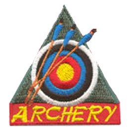 Archery, Sport, Arrow, Target, Bow, Patch, Embroidered Patch, Merit Badge, Badge, Emblem, Iron On, Iron-On, Crest, Lapel Pin, Insignia, Girl Scouts, Boy Scouts, Girl Guides