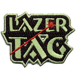 The words ''Lazer Tag'' have a red laser blast coming in from the bottom left, shooting through the T in ''Tag'' and impacting on the E in ''Laser.''