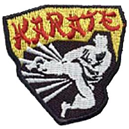 This patch depicts a white silhouette of a black belt grade karate student wearing a karate gi as he kicks out. The word ''Karatae'' is written in red stylized letters at the top.