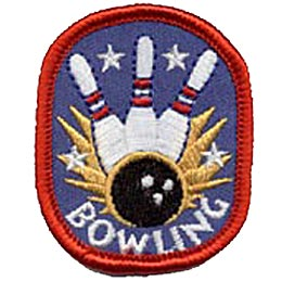 This oval patch shows three bowling pins being struck by a bowling ball. Yellow spikes and stars shoot out from the impact and the word ''Bowling'' rests below it all.