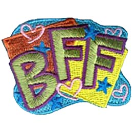 BFF, Best, Friends, Forever, Friend, Text, Patch, Embroidered Patch, Merit Badge, Badge, Emblem, Iron On, Iron-On, Crest, Lapel Pin, Insignia,  Girl S