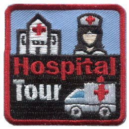 Hospital, Tour, Ambulance, Alarm, Siren, Nurse, Red, Cross, Patch, Embroidered Patch, Merit Badge, Badge, Emblem, Iron On, Iron-On, Crest, Lapel Pin, Insignia, Girl Scouts, Boy Scouts, Girl Guides
