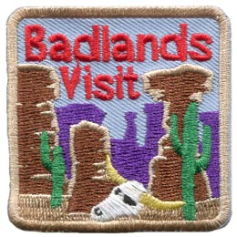 Badlands, Desert, Cactus, Bones, Patch, Embroidered Patch, Merit Badge, Badge, Emblem, Iron On, Iron-On, Crest, Lapel Pin, Insignia, Girl Scouts, Boy Scouts, Girl Guides
