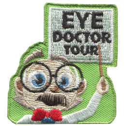 A cartoon doctor with big glasses and a red bow tie points to a white chart that says 'Eye Doctor Tour.'
