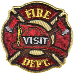 A fireman's hat sits on top of crossed axes, which itself is in front of the fire crest. From top to bottom the text reads 'Fire Visit Dept.'