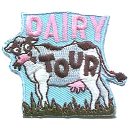 Dairy, Tour, Cow, Udder, Grass, Milk, Patch, Embroidered Patch, Merit Badge, Badge, Emblem, Iron On, Iron-On, Crest, Lapel Pin, Insignia, Girl Scouts, Boy Scouts, Girl Guides