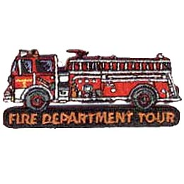 A fire truck drives towards the left of the screen and over top of the words ''Fire Department Tour.''