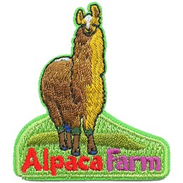 A golden brown alpaca stands on a patch of green grass. Under the alpaca are the words 'Alpaca Farm.'