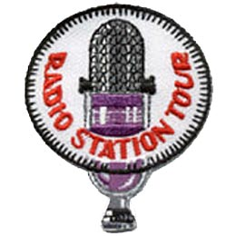 Radio Station Tour, Microphone, Patch, Embroidered Patch, Merit Badge, Crest, Girl Scouts, Boy Scouts, Girl Guides