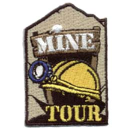 Mine, Tour, Hard, Hat, Flashlight, Coal, Patch, Embroidered Patch, Merit Badge, Badge, Emblem, Iron On, Iron-On, Crest, Lapel Pin, Insignia, Girl Scouts, Boy Scouts, Girl Guides