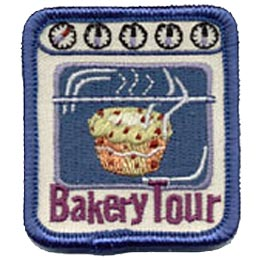 Bakery Tour, Cupcake, Oven, Stove, Bake, Cook, Cooking, Patch, Embroidered Patch, Merit Badge, Crest, Girl Scouts, Boy Scouts, Girl Guides