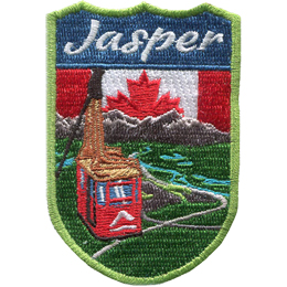 This crest displays the Jasper Sky Tram overlooking the beautiful view of forest, rivers, and the Rocky Mountains of Jasper National Park. Behind the spectacular view is the Canadian flag and the words 'Jasper'.