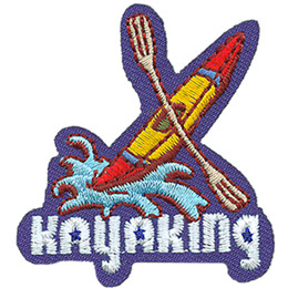 A yellow kayak with a painted red nose and tail leaps out of a breaking wave. A paddle straddles the middle. At the bottom of this crest is the word 'Kayaking'.